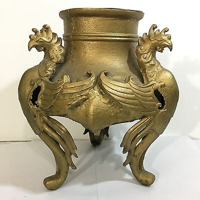 Antique Open Cast Iron Incense Burner Of Three Roosters. Great Large Heavy Piece