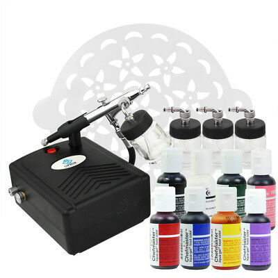 OPHIR AIRBRUSH CAKE Decorating Kit & Air Compressor & 8 Color Food ...