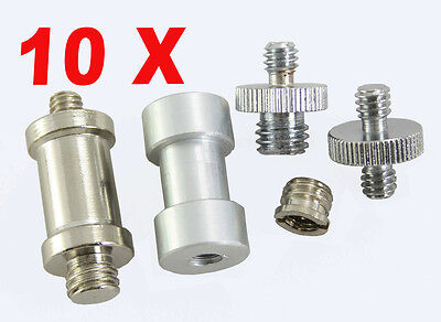 "10pcs 1/4"" to3/8"" Thread Screw Mount Camera Tripod Light Stand Converter Adapter"