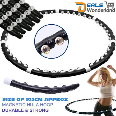 Hula Hoop Fitness Exercise Massage Magnetic Balls Lose Weight Workout Black