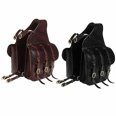 Excelsior Double Saddle Panniers Bags Brass Fittings Black