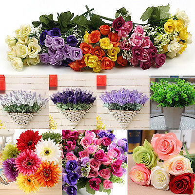 LOTS Artificial Silk Flower Bouquet Home Wedding Floral Garden Decor Ornament