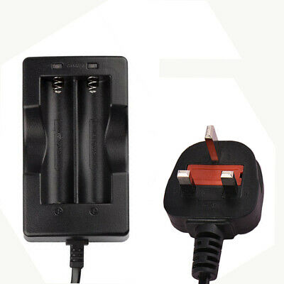 UK 100-240V Charger for 2 x 18650 3.7V Rechargeable Lithium Battery New