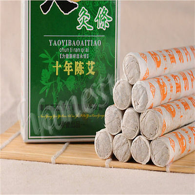 10 Pcs Ten Years Old Traditional Moxa Roll Moxibustion Relieve Pain Burner Stick