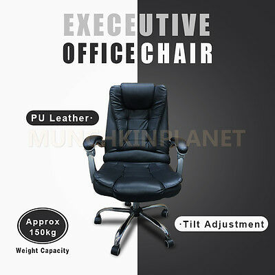 Popular Executive High Back Premium PU Leather Thick Padding Office Chair Black