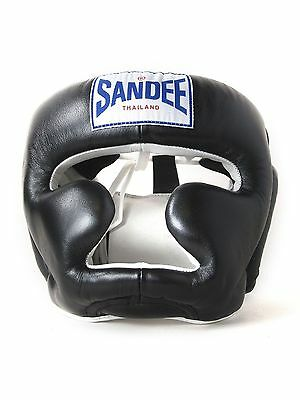 Sandee Closed Face Black & White Leather Head Guard Muay Thai Protection
