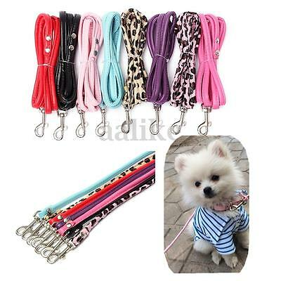 Puppy Small Dog Cat Pet Collar Leash Leather Long Lead Rope Harness Safety Belt