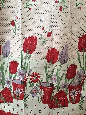 Vintage APRON Red Purple TULIPS Spring Flower Pots Polka Dots Garden
