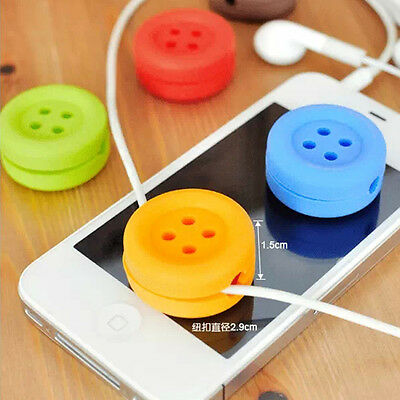 Tide Useful Button Cable Cord Wire Organizer Wrap For Headphone Earphone  MO
