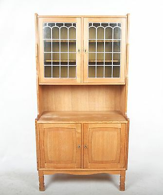 Antique Oak Glazed Bookcase French Stained Leaded Glass Bookshelves Cabinet Fine