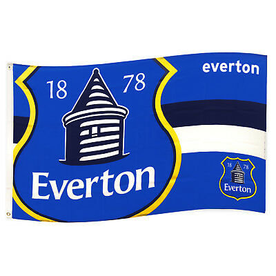 Everton FC Official Soccer Gift 5x3ft Striped Body Flag Blue White