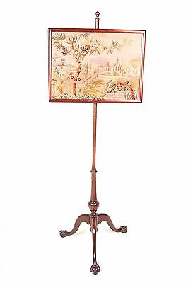 Antique Pole Fire Screen Embroidered Tapestry Mahogany 19th Century