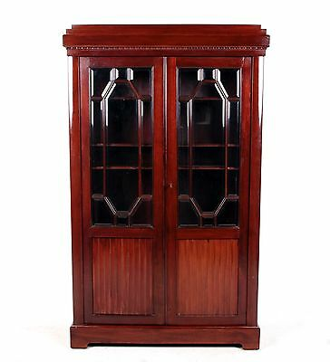 Antique Bookcase French Mahogany Library Glass Cabinet Glazed Cupboard 19th Cent