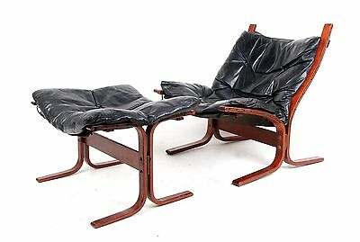 Retro Rosewood Lounge Chair Stool Leather Westnofa Ingmar Relling Siesta Chair O