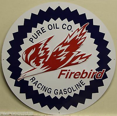 "PURE Oil Co. 24"" embossed Metal Sign Firebird Racing Gasoline vintage style"