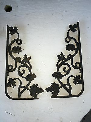 2 Vintage Rustic Cast Iron Arch Corner Doorway Brackets Grapes Leaf Shelf Shelve