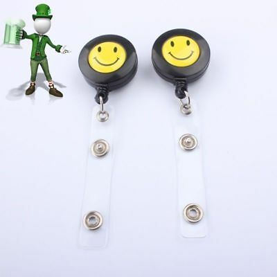 2 X SMILEY FACE Retractable Badge Reels for ID Card Ski Pass Holder Badge Reel
