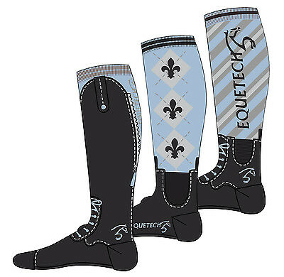 Equetech Knee Riding Boot Socks SKY Pack 3 (37-42) UK 4-8 + Worldwide Shipping