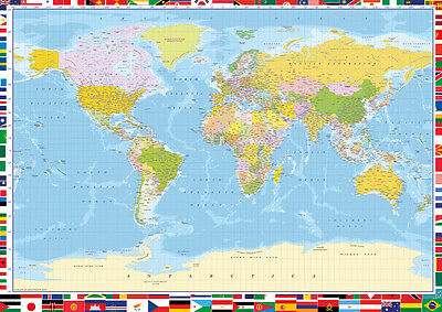 "LARGE World Map Poster WALL CHART With Country Flags Colour Litho34""x 24"" POSTER"