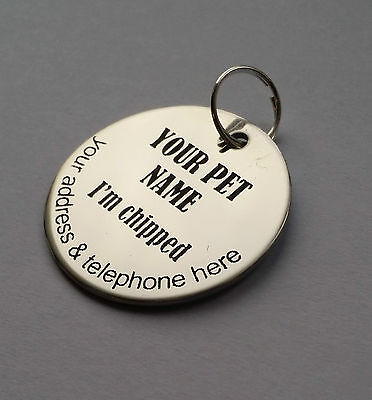 Dog Tag, Pet ID Tag,   Stainless Steel,  Both Side Laser engraved