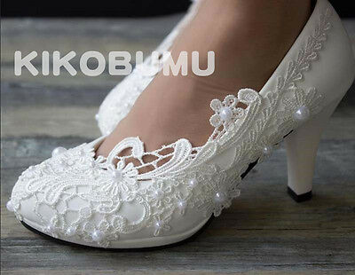 White ivory lace pearls crystal Wedding shoes flat Heels Bridal size 5-12
