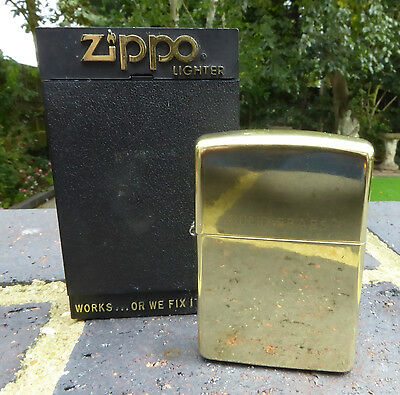 Zippo Solid Brass  Petrol Lighter - Boxed