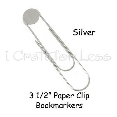 """100 SILVER Jumbo / Giant Paper Clips Paperclips (3 1/2"""") Book Marks w/ Glue Pads"""