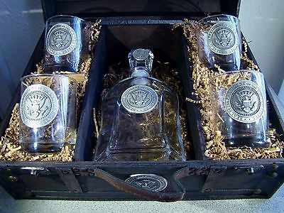 Pewter Presidential Seal Decanter and Four Double Old Fashioned Glasses In Chest