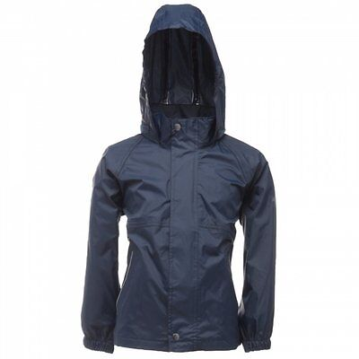 Regatta Packaway Boys Girls Kids Lightweight Waterproof Packable Jacket Navy 3-4