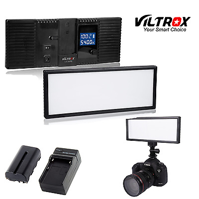 Viltrox 132 LED Slim LCD Bi-Color Dimmable Studio Video Light battery+charger