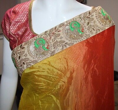 Brand New Designer Saree Multi Colour pre-pleated Bollywood Sari Womens Size
