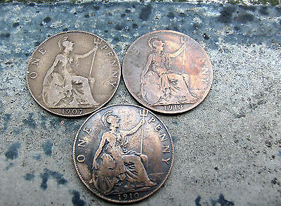 1 penny cuivte 1907-1910-1913 Angleterrre