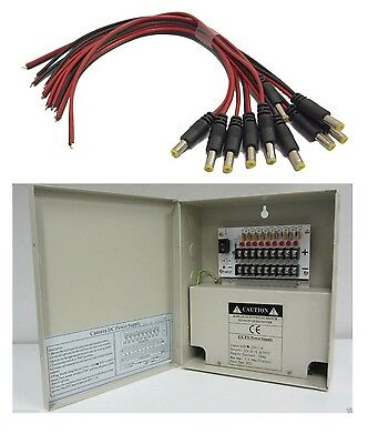 8 Channel 9 Port CCTV Power Supply Box w// Pigtail for CCD Security Camera bpw