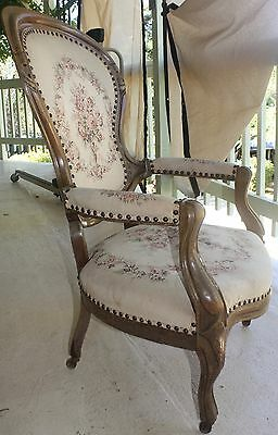 Antique Walnut Victorian Parlor Chair Upholstered Seat On Original Casters
