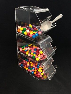 Bulk foods three tiered stacking candy, nuts, cereal, spice bins (set) .
