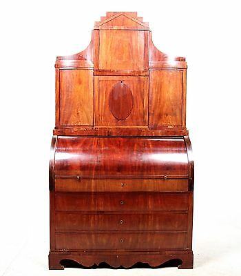 Antique Secretaire Bureau Bookcase Large Mahogany Birch Oak Swedish Biedermeier