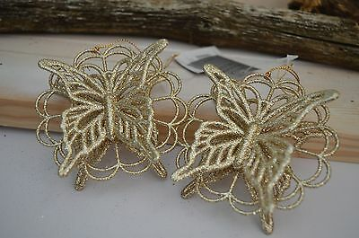 Gisela Graham Gold Glitter Double Layer Butterfly Christmas Decor( SET OF 2)