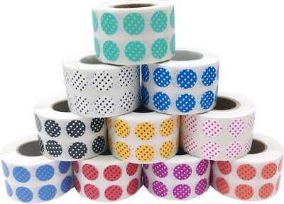 Circle Polka Dot Stickers, 1/2 Inch Round, 1000 Labels Total, 18 Color Choices