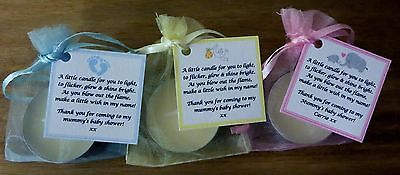 Baby Shower Favours / Gifts With Vanilla Candle - Yellow Blue Pink