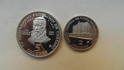 1970 Costa Rica 2 and 5 Colones Silver Proof coin