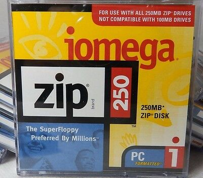 Genuine iomega Zip 250MB Zip Disk PC Formatted in Jewel Case MAC Capable