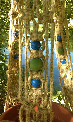 Northern Lights Macrame Plant Hanger With Blue and Green Beads