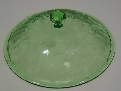 "Green Floral Poinsettia Covered 8"" Vegetable Bowl Lid 7 5/8"" Across"