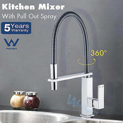 Wels Square Kitchen Sink Mixer Tap 360° Pull Out Swivel Spout  Spray Chrome