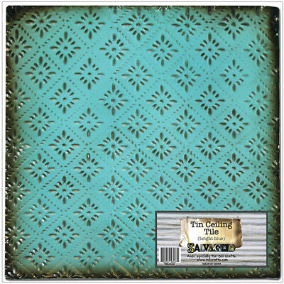 "Salvaged Tin Ceiling Tile 12""X12""-Bright Blue Rosette, Salvaged,Part TCT-BLUDI"