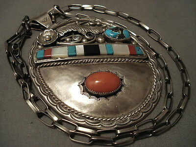 Gigantic Vintage Navajo Coral Persin Turquoise Silver Necklace Old
