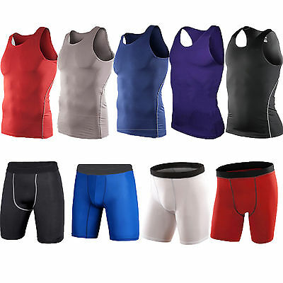 Mens Sports Compression Baselayer Armour Tights Thermal Top Gear Gym Shorts Pant