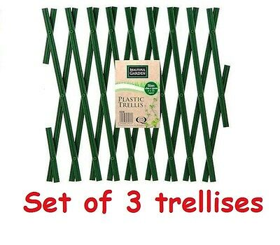 Set of 3 Green Expanding Plastic Trellises Garden Fence 180 x 40cm PVC 6FT