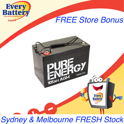 Pure Energy 12V 105Ah AGM Deep Cycle Battery AGM BATTERY DEEP CYCLE CARAVAN SOLA