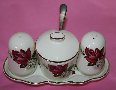 Vintage Beswick Porcelain Cruet Set Shabby Chic Tea Time Table Ware Roses Party